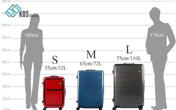 Kích thước vali kéo nam